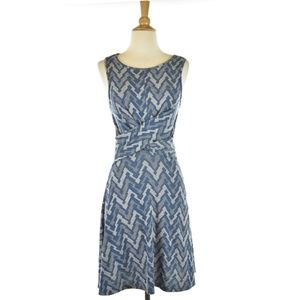 Suzy Shier Blue and Grey Patterened Midi Dress
